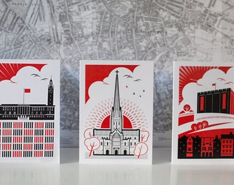 Revolutionary Norwich Greetings Cards x3