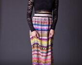 SALE 50% OFF 70s Vintage Handmade Marakesh Print Maxi Skirt