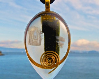 EPIDOTE and Blue Lace Agate Positive Energy Orgone Pendant with Copper and Gold. Frequency Charged EMF Protection.