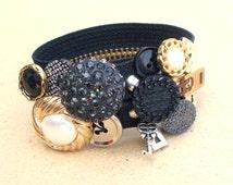 RESERVED Black Button Zipper Bracelet Silver Lock Key Charm Vintage Buttons Bling