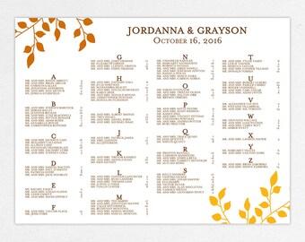Wedding Seating Chart (Falling) - Digital File, DIY, PDF, Printable, Fall, Autumn, Nature, Leaf, Tree, Orange, Yellow, Brown, Customizable