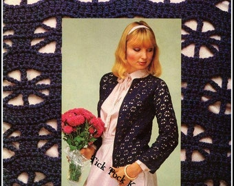 No.354 Crochet Sweater Pattern 1970's Vintage PDF - Women's Pinwheel Stitch Cardigan Sweater - Retro Crochet Pattern