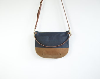 Canvas Cross Body Bag - NEVIS -  Navy Blue and Tan - Zip Top  Waxed Canvas  Adjustable Leather Shoulder Bag by Jeanie Deans