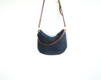 Zip Top  Waxed Canvas Cross Body Bag - NEVIS -  Navy Blue - Adjustable Leather Shoulder Bag Leather Shopper Bag by Holm