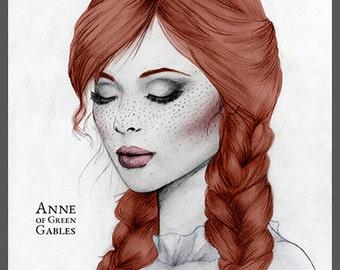 Anne of Green Gables Mixed Media Pencil Fashion Illustration Fine Art Print