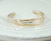 Cuff Bracelet Set, 14k Gold Filled & Sterling Silver