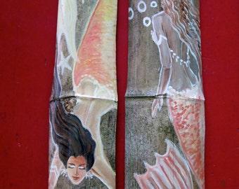 A Pair of Beautiful Caribbean Mermaids-Orange- Fantasy Mermaid Origianal art on Drift wood