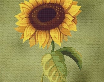 Single Sunflower Cross Stitch Pattern Instant Download pdf Modern Design Stunning Floral Design 26