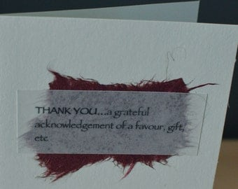 Thank You Handmade Blank Greeting Card, give thanks, definition card