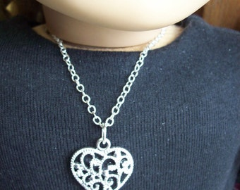 "American Girl Doll or 18 "" inch Doll and Girl Silver Filagree HEART Necklace Jewelry Accessories Bracelet Child"