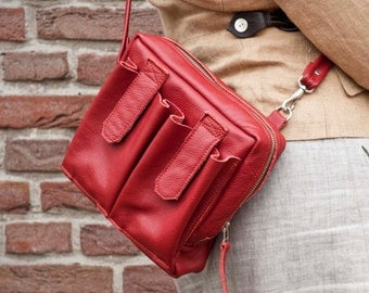 SALE! Red Leather Women's  Shoulder Bag/ Crossbody Bag/ Hand Bag Purse/  Pouch/.. 9x8x3 inch. Original and practical.
