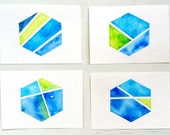 Color Block Blue Green Hexagon Watercolor ACEO Set /Geometric Collection / Nate Berkus inspired #geometric #hexagon #blue #etsy #nateberkus
