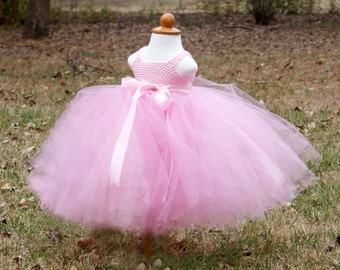 Toddler Girl Tutu Dress Baby Girl Tutu Dress Childs Tutu Dress Pink Pageant Tutu Dress Birthday Tutu Dress Pink Flower Girl Tutu Dress