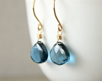 "London Topaz Earrings 14 K Yellow Gold Fill READY TO SHIP Genuine Topaz Blue Gemstone--""Into the Deep"""