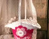 Magenta, Pink and White Flower Girl Basket, Felt Flower Basket, Pink Wedding Decor, Cottage Chic, by Green Orchid DS