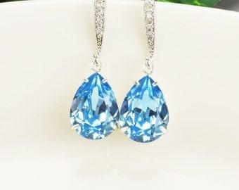 Aquamarine Earrings - Swarovski Earrings - Crystal Teardrop Earrings -  Blue Earrings - Bridesmaid Earrings - Bridesmaid Jewelry - Bridal