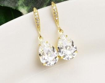 Clear Earrings - Swarovski Earrings - Gold Plated Earrings - White Crystal Drop Earrings - Bridesmaids Earrings - Bridesmaid Jewelry