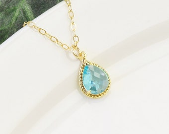 Aquamarine Necklace - Gold Blue Bridesmaid Necklace - Blue Glass Pendant Necklace - Aqauamarine Bridesmaid Jewelry