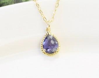 Purple Necklace - Tanzanite Purple Bridesmaid Necklace - Gold Purple Pendant Necklace - Bridesmaid Jewelry Set - Bridal Jewelry