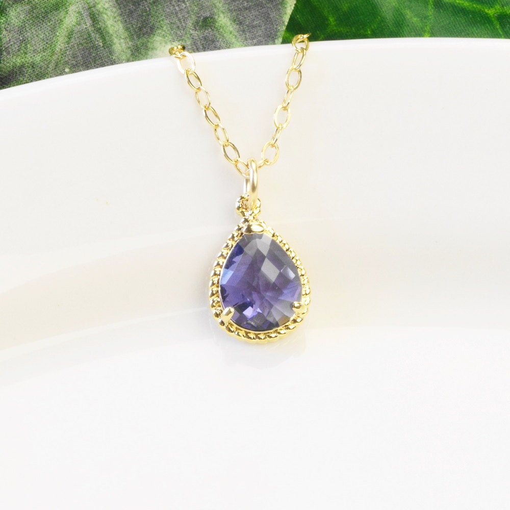 Tanzanite Necklace Tanzanite: Purple Necklace Tanzanite Purple Bridesmaid Necklace Gold