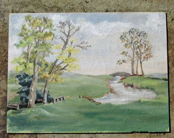 1970s River Landscape Painting Original Art