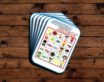 PRINTABLE Superhero bingo game, Superhero party, Superhero games, boy birthday theme, party games