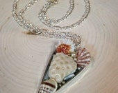 Heart Shaped Seashell Collage Pendant  christmas birthday gift real seashells set with resin 24 inch chain
