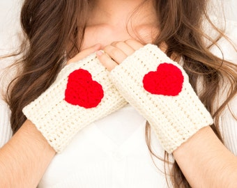 Ivory & Cherry Red Heart Crochet Fingerless Gloves, Handmade Women's Soft Winter Accessory, Knitted Texting Gloves, Knit Hand Warmers