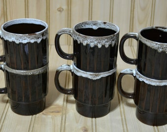 Vintage Black White Drip Glaze Coffee Mug Stackable Ceramic Japan Set of 6