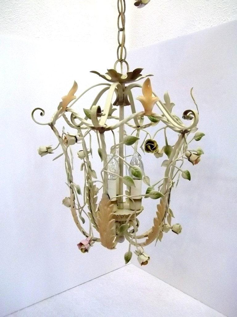 Vintage Italian Tole Chandelier Light Metal Pastel Roses