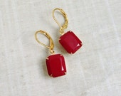 Vintage Stone Marsala Burgundy Red Earrings Christmas Jewelry Holiday Gift For Her