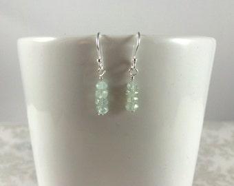 Natural Aquamarine Gemstones and Sterling Silver Earrings