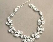 Bridal Bracelet, Cubic Zirconia Bracelet, Wedding Bracelet, Bridal Cuff, Crystal leaf , Clear Crystal Bracelet, Swarovski. Link Bracelet