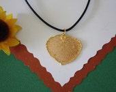 SALE Leaf Necklace, Gold Aspen Leaf, Real Aspen Leaf Necklace, Gold Leaf Pendant,SALE14
