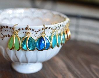 Large Classic Teardrop Dangles // Gold // Mint Green, Sea Green, Cobalt, Mint Turquoise, Aqua, Fuchsia, Black // Bridesmaid Earrings