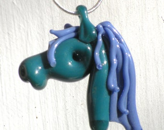 Glass Horse Head Pendant Lampwork Equine Mustang Chinese New Year Hand blown SRA Purple and Teal