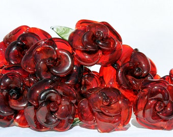Dozen Glass Roses Long Stemmed, 12 Hand Blown Glass Flower Forever Untamed Rose, Red Extra Large SRA
