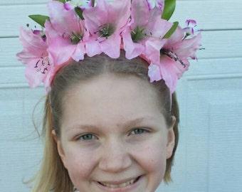 Frida Inspired Floral Crown - Pink Petunia Lily Floral Headpiece - Alice in Wonderland Pink Rose - Bridal Headpiece