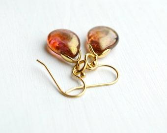 Rose Gold Glass Teardrop Earrings Dangle Earrings Delicate Jewelry Drop Earrings -  T134