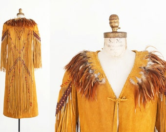 Vintage Native American Beaded Leather/Feather Dress / Coat - Actress Stella Stevens