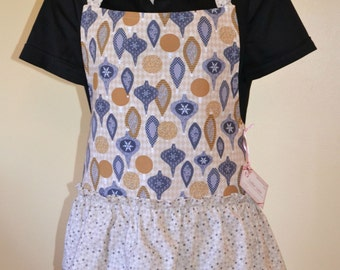 Festive and Flirty Ruffled Ladies Apron in Holiday Ornaments print