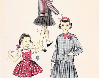 Advance 8154 Sewing Pattern Vintage 50s School Girl's Suit Blazer Jacket Pleated Skirt Bib Jumper Suspenders Size 2