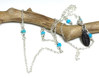 turquoise station necklace on delicate sterling silver chain with sterling silver beads, dainty layering necklace handmade by girlthree