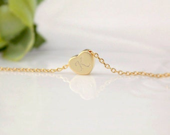 Initial necklace, Heart initial necklace, Personalized necklace, gold heart, silver heart