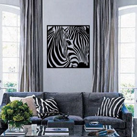 Zebra Head Vinyl Wall Decal - Safari Nursery Decor - Square Zebra Head - African Safari Wall Art - Animal Stickers - Black & White - 22x22