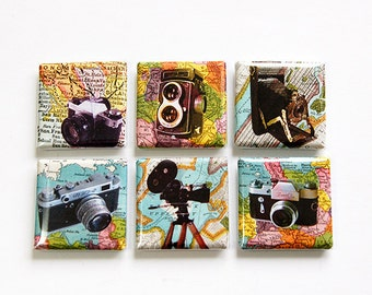 Camera Magnets, Photography Magnets, Magnets, Square Magnets, Fridge Magnets, button magnets, gift for photographer, brownie camera (4618)