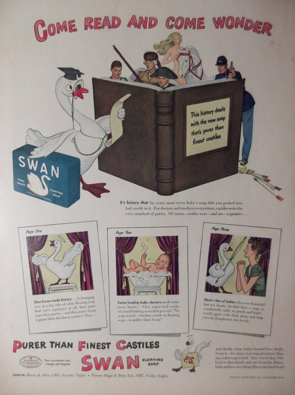 Swan soap original vintage magazine ad kitchen bath wall decor for Bathroom accessories ads