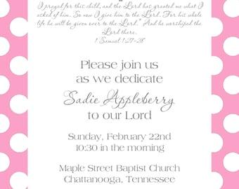 pink baby dedication invitation