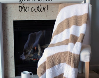 Striped Afghan Throw Blanket Modern Crochet - Chunky Light Brown and White - Made To Order