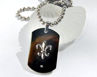 Diamond Fleur de Lis Necklace . Dog Tag Style